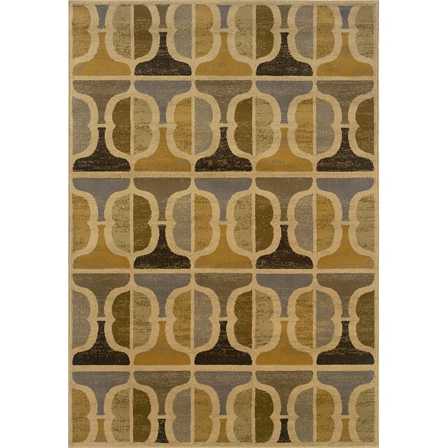 Gold And Grey Transitional Area Rug (7'8 X 10'10