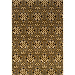 Gray/Gold Transitional Polypropylene Area Rug (5' x 7'6)