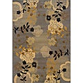 Gray/Gold Transitional Floral Area Rug (5' x 7'6)