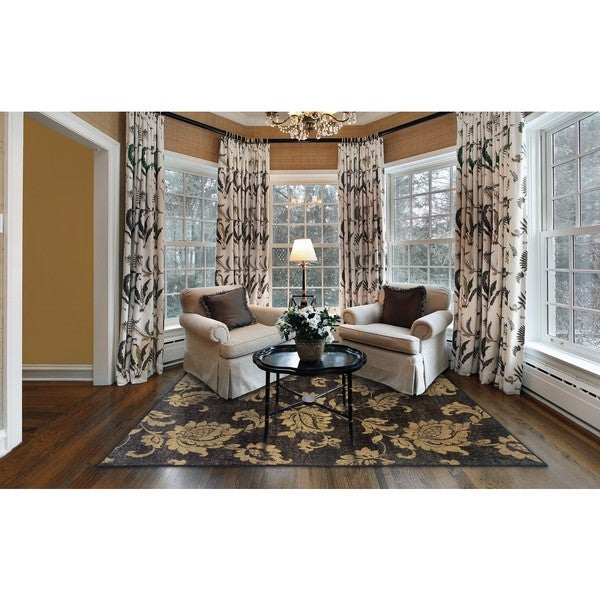 Black/ Beige Transitional Area Rug (5' x 7'6)