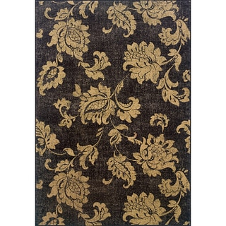 Black/ Beige Transitional Area Rug (7'8 x 10'10)