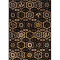 Black/ Gold Transitional Area Rug (3'10 x 5'5)