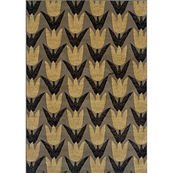 "Floral Gold/Gray Transitional Area Rug (5' x 7'6"")"
