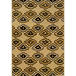 Beige/ Grey Transitional Geometric Area Rug (7'8 x 10'10)