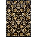 Black/ Gold Traditional Area Rug (3'10 x 5'5)