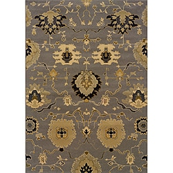"Gray/Gold Floral Transitional Area Rug (7'8"" x 10'10"")"