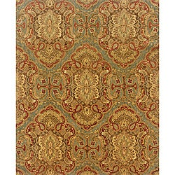 Evan Blue/ Rust Transitional Wool Rug (5' x 8'3)