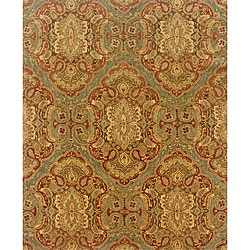 Evan Blue/ Rust Transitional Wool Rug (7'6 x 9'6)