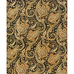 Evan Black/ Gold Transitional Area Rug (5' x 8'3)