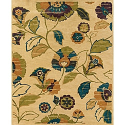 Evan Beige and Green Transitional Area Rug (7'6 x 9'6)