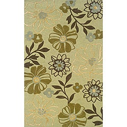 Monrovia Green/ Brown Transitional Area Rug (5' x 8')