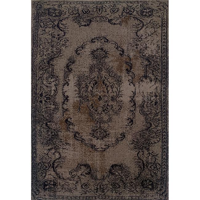 Overdyed Distressed Oriental Grey/ Black Area Rug (5' x 7'6)