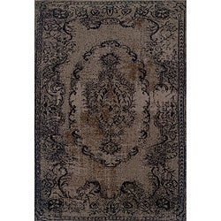 Overdyed Distressed Oriental Grey/ Black Area Rug (6'7 x 9'6)