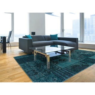 Teal/ Grey Transitional Area Rug (5' x 7'6)
