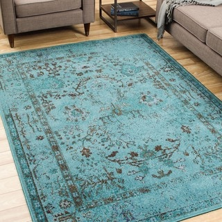 Over-dyed Distressed Traditional Teal/ Grey Area Rug (5' x 7'6)