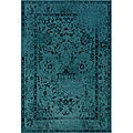 Distressed Traditional Teal/ Grey Area Rug (6'7 x 9'6)