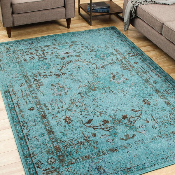 Over Dyed Distressed Traditional Teal Grey Area Rug 7 10