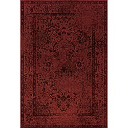 Red/ Grey Transitional Area Rug (5' x 7'6)