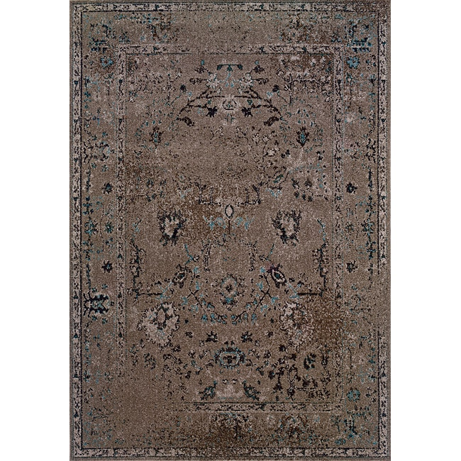 Grey/ Black Transitional Area Rug (5' x 7'6)