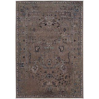 Over-dyed Distressed Traditional Grey/ Black Area Rug (6'7 x 9'6)
