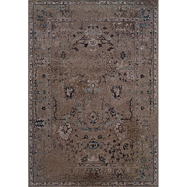 Over-dyed Distressed Traditional Grey/ Black Area Rug (7'10 x 10'10)