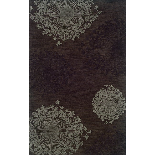 Solano Brown/Gray Transitional Polyester Area Rug (5' x 8')