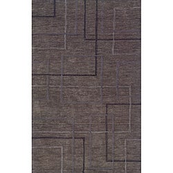 Solano Grey/ Black Contemporary Area Rug (5' x 8')