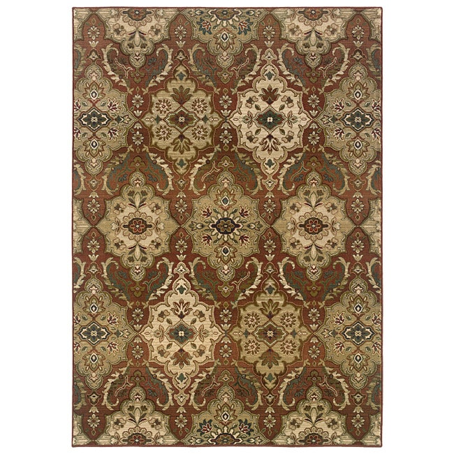"""Sydney Rust/Beige Transitional Polyester Area Rug (6'7"""" x 9'1"""")"""