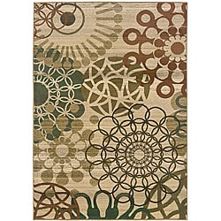 Sydney Beige/ Blue Contemporary Area Rug (7'10 x 11')