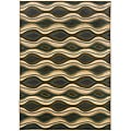 Sydney Brown/Blue Contemporary Geometric Area Rug (6'7 x 9'1)
