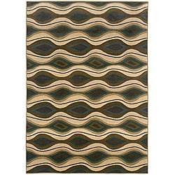 Sydney Brown/Blue Abstract-Pattern Contemporary Area Rug (7'10 x 11')