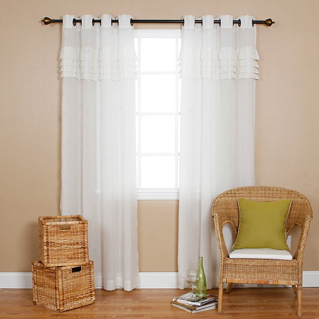 Aurora Home Pleated Faux Linen 84-inch Grommet Top Curtain Pair