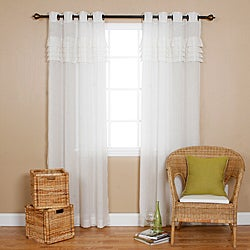 Pleated Faux Linen 84-inch Grommet Top Curtain Pair