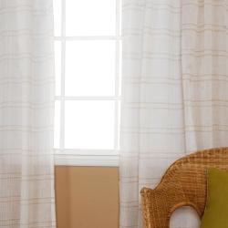 Faux Linen Tie-top 84-inch Curtain Panel Pair