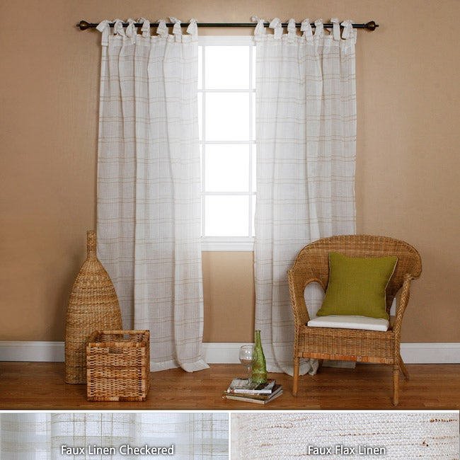 Faux Linen Tie-top 84-inch Curtain Panel Pair - Overstock Shopping ...