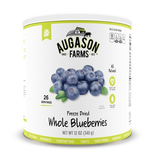 Augason Farms Freeze Dried Whole Blueberries 12 oz #10 Can