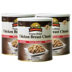 Augason Farms Freeze Dried Chicken Breast Chunks (Pack of 3)