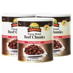 Augason Farms Freeze-dried Beef Chunks 13-serving Can (Pack of Three)