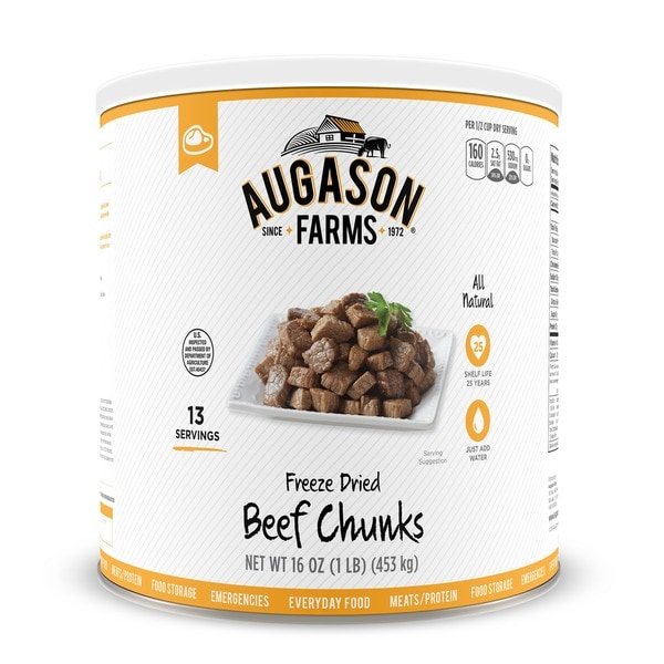 Augason Farms Freeze Dried Beef Chunks 16 oz #10 Can