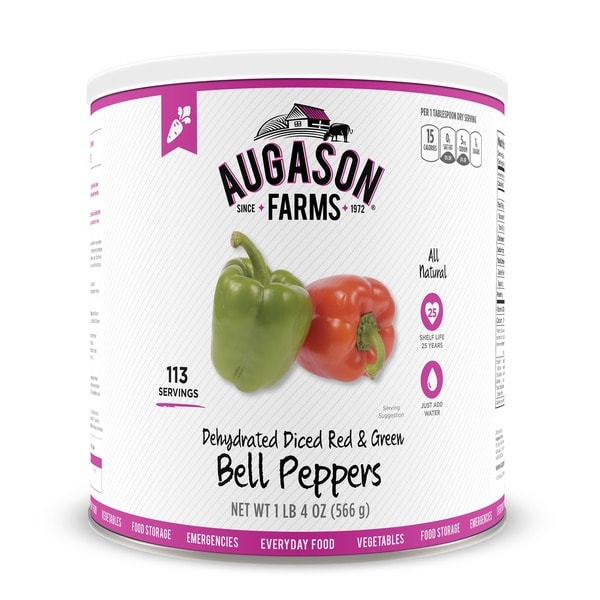 Augason Farms Dehydrated Diced Red & Green Bell Peppers (Pack of 3)