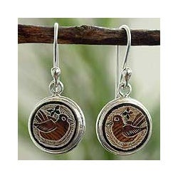 Sterling Silver 'Quiet Sparrows' Dried Mate Gourd Earrings (Peru)