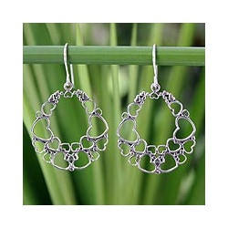 Sterling Silver 'Joyous Love' Heart Earrings (Thailand)
