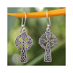 Sterling Silver 'Celtic Cross' Earrings (Thailand)