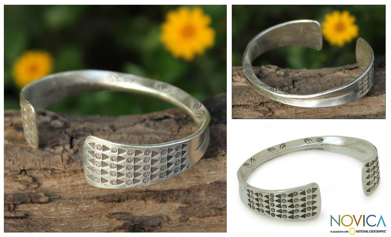 Sterling Silver 'Falling Leaves' Cuff Bracelet (Thailand)