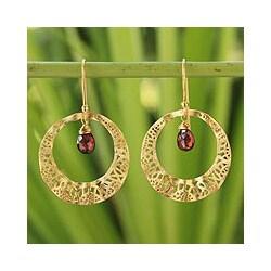 Gold Overlay 'Lanna Sun' Garnet Dangle Earrings (Thailand)
