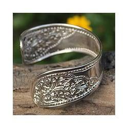 Sterling Silver 'Jasmine Romance' Cuff Bracelet (Thailand)