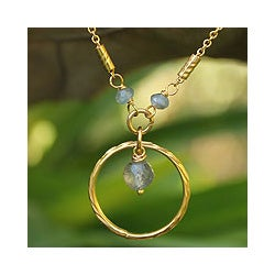 Gold Overlay 'Morning In Thailand' Labradorite Necklace (Thailand)