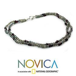 Sterling Silver 'India Dusk' Labradorite and Garnet Necklace (India)