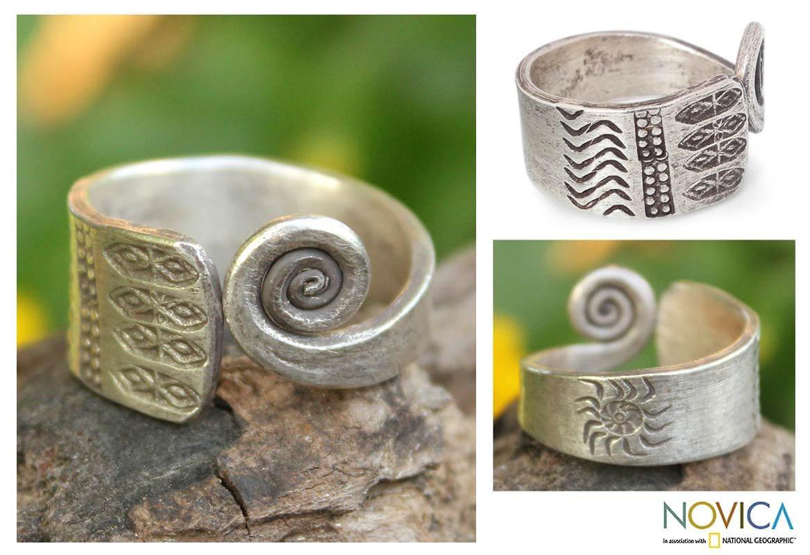 Sterling Silver 'Thai Sunbeams' Wrap Ring (Thailand)