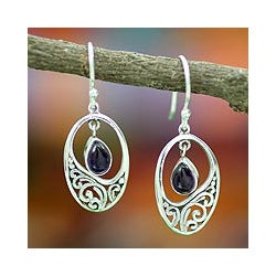 Sterling Silver 'Jaipur Dew' Amethyst Earrings (India)